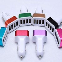 Wholesale Mini Ipad Car Micro Adapter - Mini 4 Port Car Charger Metal Alloy 5V 5.1A USB Charging Adapter For All Smart Phone Apple Ipad Andorid Tablet