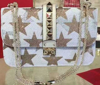 Wholesale Double Bean Bags - 2017 Top quality Real leather Classic women Rivets flap chain bag bean curd shoulder bag Cross Body Double color hot drilling handbag bag