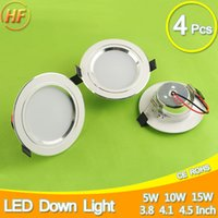 Wholesale Thin Spot Lights - Wholesale- 4Pcs Silver Ultra Bright LED Downlight 5w 10w 15w Thin Round LED Ceiling Recessed Spot Light 85~240v Down Light Cold Warm White