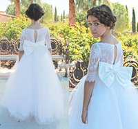 Wholesale Cheap Pageant Dresses For Teens - new hot sale cheap pageant dress for teens lace applique tulle floor-length back zipper bow elegant flower girls' dress for wedding party