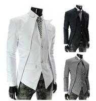 Wholesale collar designs for wedding dresses online - Wed Blazer Men Asymmetric Design Long Sleeve Turn Down Collar Single Breasted Fashion Slim Fit For Men Dress Blazer