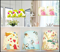 Wholesale floral light fixtures - Simple E27 Floral Fabric Lampshade, Lampcover,Lampcovers for Table Floor Wall Lights Lamp Chandelier Lighting Fixtures Accessories
