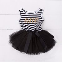 Wholesale Christening Gowns For Newborns - Wholesale- one years old tutu dress for infant baby summer sleeveless striped ribbon bow newborn vestido clothes toddler christening party