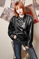 Wholesale Cool Jackets For Girls - PU leather boy girl rivet jacket tide fashion female cool coat black loose casual personality slim blazer outfit show for rock jazz DS DJ