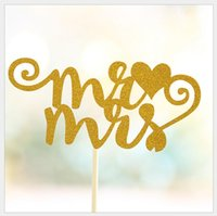 Vente en gros-1pcs Mr Mme wedding Party Supplies lettres Cupcake Toppers Pick Décoration d'anniversaire Fêtes de fête d'enfants