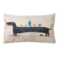 Wholesale Dachshund Pillow - 30X50cm Dachshund Dog Cushion Cover Sausage Dog Puppy Pillow Case Pillow Cover Dog Cushion Covers Sofa Thick Cotton Linen Pillow
