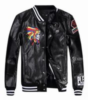 Wholesale Synthetic Flowers L - 2016 new PU Leather jacket cardigan men's motorcycle high-end embroidery headgear standing male collar leather