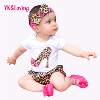 Wholesale Leopard Bloomers - 2017 Baby Girl Set Cotton Short Sleeve Cotton Bodysuit Leopard Bloomers Shorts Headband Newborn clothing Kids Girl Clothes PP Shorts Sets