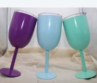 очки для бокалов оптовых-Бокалы 9 цветов 10oz нержавеющей стали Бокал вакуума Двойной слой термо чашка Drinkware бокалов красного вина Кружки