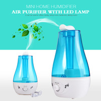 Wholesale Home Air Humidifier - Wholesale- 25W Tabletop 3L Water Bottle Mini Home Ultrasonic Humidifier Purifier with LED Lamp Air Freshener Diffuser support wholesale