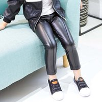 Wholesale Kid Girls Leather Trousers - Fashion Black Children Leather Leggings Girls In Leggings Autumn Winter New Kids Leggings Baby Tights Trousers Pants Girl Clothes A1001
