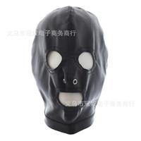 siyah deri seks maskeleri toptan satış-Sıcak !!! Seks Maskesi Yetişkin Oyunları Seks Ürünleri Komik Siyah Yumuşak Seksi Fetiş PU Deri Sınırlamalar Şapka Kaput Maske Köle Erkekler Erotik Oyuncaklar