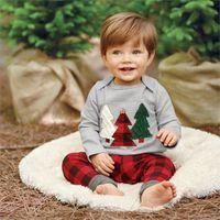 Wholesale Boutique Boys Outfits - Cute Baby Kids Christmas Suit Fashion Little Boys Sleepwear Christmas tree plaid pants outfits 2pcs boutique