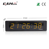Wholesale Ganxin quot Display Digit Yellow tube Portable Led Digital Wall Clock with Remote Control Programmable Designed Energy Conservation