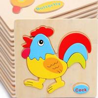 bebek hayvanlar çizgi film resimleri toptan satış-1 adet Karikatür Renkli Çocuklar Ahşap Bulmacalar Hayvanlar Resim Bulmaca Bebek Zeka Eğitici Oyuncaklar Çocuk Erken Gelişim