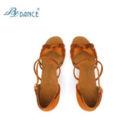Wholesale Tango Dance Shoes High Heel - Hot Sale BD 2324 Ladies Lain Dance Shoes Dark Tan Satin Soft Leather Sole Women Professional Dance Shoes High Heel Tango