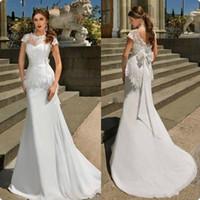 vestidos largos de boda indios al por mayor-Vestidos de novia de sirena de gasa 2017 Vestidos de novia de encaje de noiva largo sirena de playa bohemia