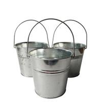Wholesale Galvanized Buckets Wedding - Free shipping wholesale D13*H12CM Galvanized Wedding pots Planter Party flower tub Rustic finish Nursery Pots Silvery Buckets