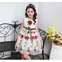 Wholesale Embroid Girl - Pettigirl Clothes Rose Flower Embroid Cotton Lining Vest Girl Party Dress Princess Floral Summer Clothing Baby Clothes