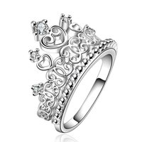 Wholesale Crown Ladies Rings - R629 Christmas lady special hot new high quality silver plated Crown wedding jewelry cute woman sparkling crystal Crowne ring