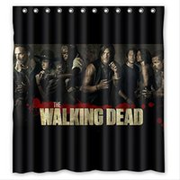 Wholesale Walking Dead Fabric - Custom the Movie Walking Dead 5 Waterproof Bathroom Shower Curtain Polyester Fabric Shower Curtain Size 66 X 72