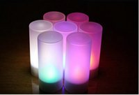 Wholesale color change tea light resale online - 2017 Set Remote Controll Rechargeable Tea Light Led Candles Frosted Flameless Tealight Multi Color Changing Candle Lamp Party