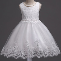 Wholesale christmas party photos - 2017 Lovely White Flower Girl Dresses for Summer Weddings A Line Crew Neck Appliqued Beaded Short Girls Formal Wear Gowns Birthday Party
