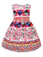 Wholesale Wholesale Mid Leopard Dress - girls clothing pink floral girls beach dress cute baby summer dress kids vintage flower Floral Dress