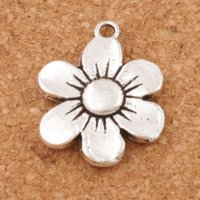 Wholesale Silver Flower Spacer Beads - 6-petal Flower Spacer Charm Beads 100pcs lot Antique Silver Pendants Alloy Handmade Jewelry DIY L338 17x21.6mm