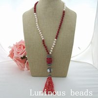 GE032802 24 '' Bianco Pearl Red Coral Collana Ciondolo Crystal Resina AB090501 42