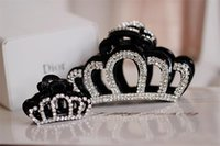 Wholesale brown hair clamp for sale - Group buy Fashion Hair Claw bowknot Tiaras Clamp Black Brown cm Full Crytal Rhinestone Crown Hairpins Korean Mix Different Style Big Jaw Clip SF DHL