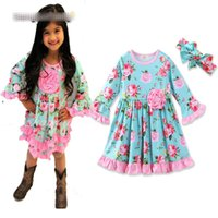 Wholesale Full Hair Flowers - Girl ins flower Hair band Princess dress 2017 New Children cartoon Neck Flare Long sleeve dresses clothes 0-3 years B001