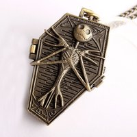 Wholesale Nightmare Pocket Watch - Wholesale mens women Bronze The Nightmare Before Christmas necklace chain pocket watch Coffin ghost FOB quartz watches