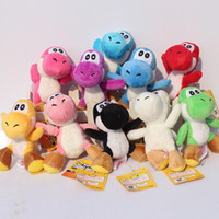 "Wholesale Yoshi Plush Dolls - Super Mario Bros Yoshi Dinosaur Dragon Colorful Plush Toy Pendants with Keychains Stuffed Dolls (10pcs Lot ,4"" 10cm ) -D020"