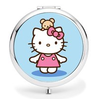 Wholesale Cute hello Kitty Cat Girls Women s Cartoon Cosmetic Makeup Compact Mirror Travel Portable roundness mini Pocket Mirror