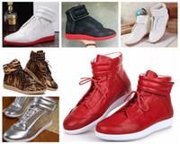 Wholesale Hip Hop Shoes For Men - Maison Martin Margiela High Help Dazzle Colour Leisure Hip Hop Shoes Red Bottoms For Men And Women Shoes Fashion Movement Party