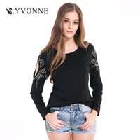 Wholesale Sequins Collar Blouse - 2017 Women Casual Solid Color Round Collar Sequins Long Sleeves Regular Style T-Shirts Hollow Out Summer Tops Sexy Slim Knitted Top Blouse