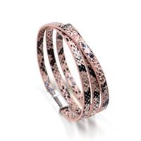Wholesale Hand Cuffs Black - 57cm PU Leather Men Women Bracelet Jewelry multi-layer snake pattern Bracelets Wristband Charm Braclet For Female Accessories Hand Cuff