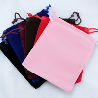 Wholesale Velvet Jewelry Bag Red - Print Logo Large Velvet Bags 50pcs 15*20cm Black Red Brown Fabric Velvet Packaging Bags Jewelry Gift Cosmetic Storage Bag Drawstring Pouch