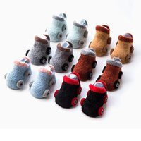 Wholesale Multi Color Baby Yarn - Newborn baby socks relent autumn and winter male centenarian cartoon car feather yarn slip-resistant toddler socks for baby