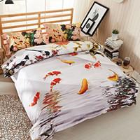 Wholesale Duvet Covers Plum - Chinese Characters Lotus Plum Flower 3D Fish Bedding Set Queen Size Duvet Cover Bedsheets Pillowcase Pure Cotton Textiles Set