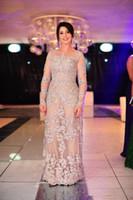 Wholesale Elegant Stunning Dress - Elegant Long Sleeve Sheath Mother of the Bride Dress Lace Formal Gowns New Floor Length Custom Size Handmade Appliques Transparent Stunning