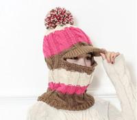 Wholesale ears hood - 2017 female winter knitted wool hat outdoor Headgear cycling cold hat warm wind hood female ski ear protection head cap