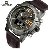 Wholesale Silicone Alarm - NAVIFORCE Men's Fashion Sport Watches Men Quartz Analog LED Clock Outdoor Running Seconds Man Leather Military Waterproof Watch