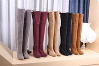 Wholesale Tall Boots For Women - 2017 New Luxury Brand Fashion Thigh-High Boots For Woman Fashion 9cm Heel High Tube 22 Inches Tall Genuine Leather Sstretch Boots