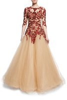Wholesale Nude Embellished Gown - burgundy floral embellished Illusion beaded tulle evening dresses 2016 crystal Jewel neckline fit-and-flare formal A-line evening gowns
