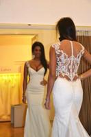 Wholesale modest wedding dresses china - vintage V-neck Mermaid White sheath sheer neck dress Satin modest Applique wedding dresses from china 2017 special occasion bridal gowns