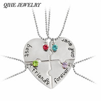 """Wholesale Friends Ever - QIHE JEWELRY 4pcs set """"best friend forever and ever"""" BFF Friend Necklace Set 4 Pieces Heart Shape Puzzle Hand Stamped Friendship"""