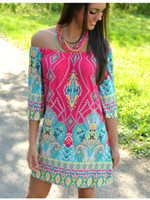 Wholesale Dresses Stretch Women - wholesale cheap price plus size dress stretch women clothing off shoulder slash neck short sleeve summer beach causal style dashiki paisley