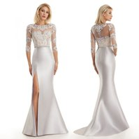 Wholesale Stylish Mother Bride Gowns - Custom Stylish and elegant lace Made Long Mermaid Evening Gown Sexy Beaded Slit Side Silver Mother of The Bride Dresses Plus Size